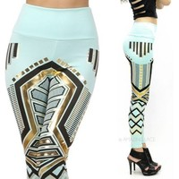Mint Aztec Tribal Metallic Gold Foil High Waist Fashion Pants Robot Leggings