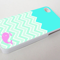 Chevron Whale Custom Print On Hard Case or Soft Case For iPhone 5/5s/5c, 4/4s