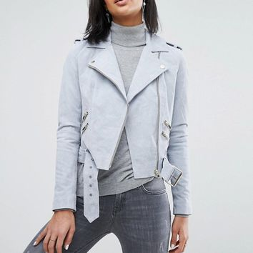 River Island Suede Biker Jacket at asos.com