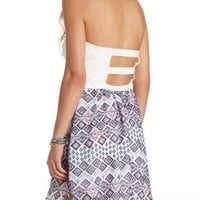 Aztec Lace & Printed Strapless Dress by Charlotte Russe - Ivory Combo