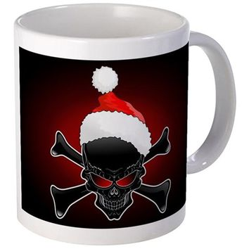 CHRISTMAS SANTA BLACK SKULL MUGS