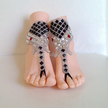 Free ship rhinestone elephant silver Black red eye gothic barefoot sandals beach shoes wedding prom party steampunk bangle beach anklets