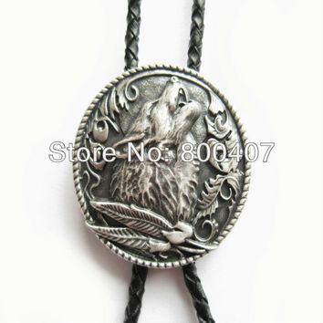 Retail New Vintage Silver Plating Western Wolf Wedding Oval Bolo Tie Leather Necklace In Stock Free Shipping
