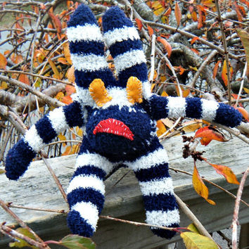 New Handmade Evil Ugly Sock Critter Rabbit. Fuzzy blue and white  striped stuffed rabbit. Not your average sock monkey. ON SALE WAS 25.00