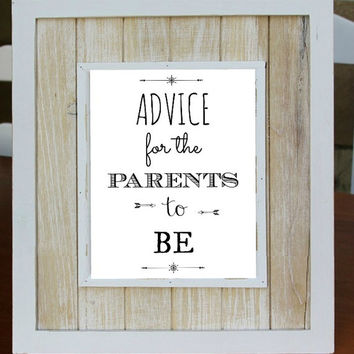 Advice For The PARENTS TO BE Digital Download Art Print, Instant Download, Baby Shower Decoration, Guest Book Alternative, Baby Shower Game