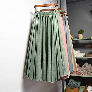 Women's Korean Style Pleated Long Skirt 2016 Autumn Winter Ladies Vintage High Waist Cotton Linen Tutu Skirts High Quality SK111