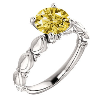 Sparkling 2.51 carat yellow canary round solitaire diamond ring solid gold 14K