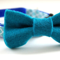 Aqua Blue Felt Dog Bow Tie
