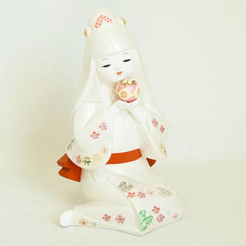 Vintage Japanese Hakata Doll with Temari Ball, Hand Painted Pink White Ceramic Doll Girl in Kimono, Made in Japan, 9 1/2 inch