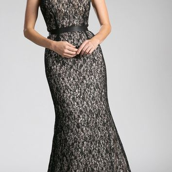 Black Lace Illusion Mermaid Evening Gown Sleeveless with Belt