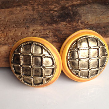 Vintage Earrings, Textured Woven Earrings, Clip On Earrings, Yellow and Brown Earrings, Plastic and Base Metal