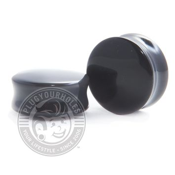 Black Agate Convex Stone Plugs