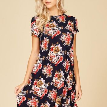 Annabelle Floral Print Short Sleeve A-Line Mini-Dress with Side Pocket