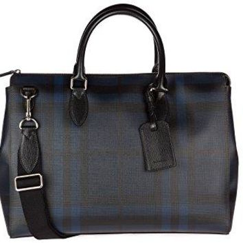 Burberry briefcase attaché case laptop pc bag london check blu