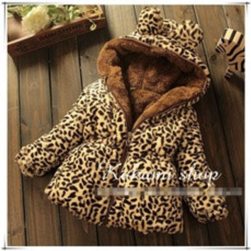 The new winter children's clothing baby girls thick padded jacket sherpa models warm leopard coat [8384288519]