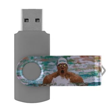 Swimmer Athlete In Pool With Water Drops Painting Swivel USB 3.0 Flash Drive