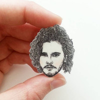 Jon Snow/ Game of Thrones/ Kit Harington/Illustrated Pin/Pin/Necklace Charm