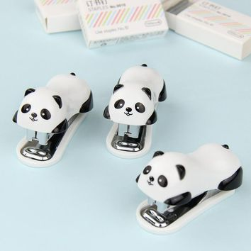 1 PCS Cartoon Mini Panda Stapler Set School Office Supplies Stationery Paper Binding Binder Book