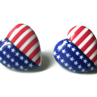 American Flag Heart Earrings, 4th of July, Red White and Blue Studs, Choice of Silver Toned or Hypoallergenic Surgical Steel Posts