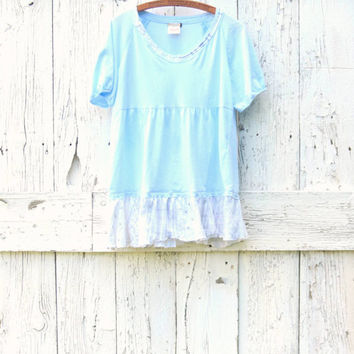 Women's L XL upcycled tunic , pastel blue boho t shirt top , repurposed recycled bohemian , upcycled clothing, eco friendly by wearlovenow