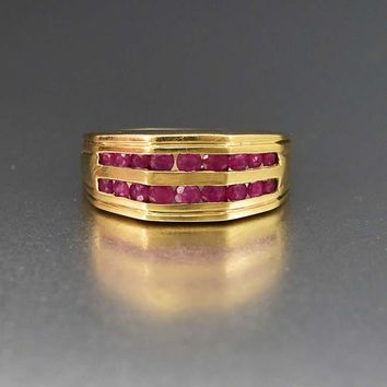 Fabulous Wide Gold and Channel Set Ruby Band Ring