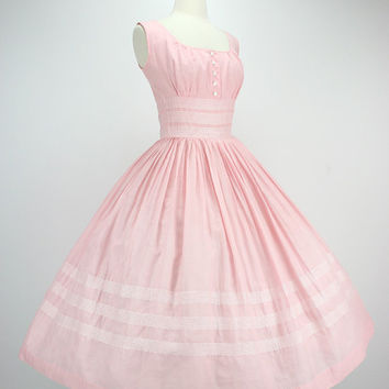 Vintage 50s Dress Pink Party Dress Full Skirt Shelf Bust Semi Sheer Lightweight Cotton White Embroidery Stripes Metal Zipper 1950s Dresses