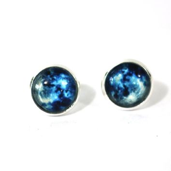 Blue Moon 12mm Glass Dome Cabochon Post Earrings // Perfect Wedding Gift for Bridesmaids