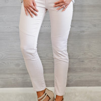 * Cassidy Skinny Jean With Moto Detail : Pink