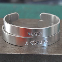 I Heart Nerds and Nerd, Couples Jewelry Bracelets