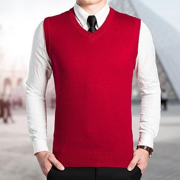 High Quality Autumn Winter Sleeveless V neck Classic Solid Color Vest Men's Wool Sweater