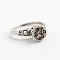 Antique Sterling Silver Art Deco Rhinestone Filigree Ring - Vintage Size 6 3/4 Faux Diamond Cluster 1920s Jewelry