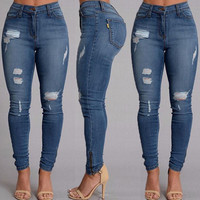 Women Ladies Clothing Denim Skinny Ripped Pants High Waist Stretch Jeans Slim Pencil Trousers Jeans Panties