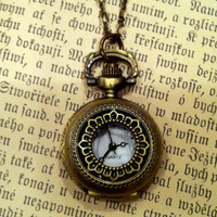 $30 Brass Pocket Watch Necklace RagTraderVintage.com