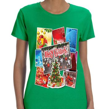 Women's T Shirt Christmas Postcards Holiday Graphic T Shirt Gift