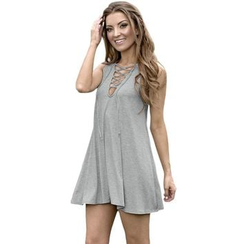 Sexy Plunging Neck Sleeveless Front Cross Lace-up Solid Color Loose Mini Dress for Women