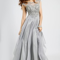 Silver Empire Waist Dress 93548 - Prom Dresses