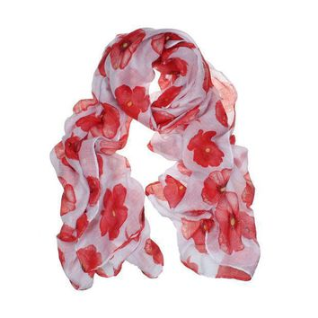 Newly Design Fashion Red Poppy Scarf Print Long Scarves Flower Beach Wrap Ladies Stole Shawl July31 Drop Shipping