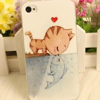 Cat Fish Kiss Case For iPhone 4S / iPhone 5