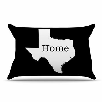 "Bruce Stanfield ""Texas State Outline"" Black White Pillow Case"