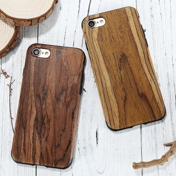 For Samsung Galaxy s8 s8plus for Apple iPhone 7 Plus Mobile Phone Case Natural Wooden Bamboo Grain Slim Leather Shockproof Cover