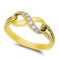 7mm 18k Gold Plated Sterling Silver Polished Infinity Knot Ring Ring Size 4-10 Celtic