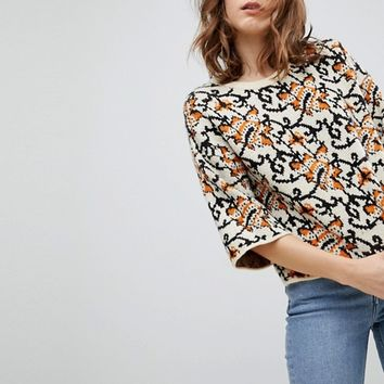 ASOS Jumper with Crop in Tapestry Pattern at asos.com