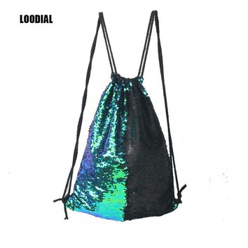 Loodial Women Cosmetic Bags Fashion Double Color Reversible Sequins Mermaid Drawstring Funny Ladies Magic Sequins Bags for Girls
