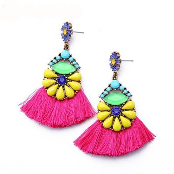 Colorful drop earrings with hot pink tassels