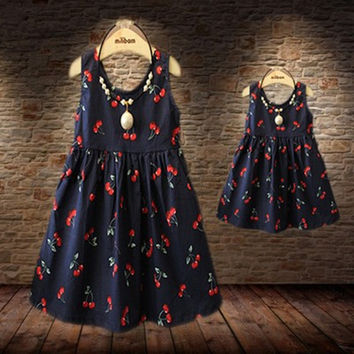 Baby Girls Dresses Summer Matching Mother Daughter Dress Plus Size Lady Cherry Print Cotton toddler Family Clothing Vestidos