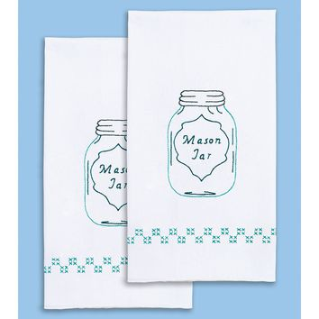 "Mason Jar Jack Dempsey Stamped Decorative Hand Towel Pair 17""X28"""