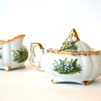 Dainty 1950s Sugar Creamer Set Handpainted Porcelain NAPCO Lily of the Valley