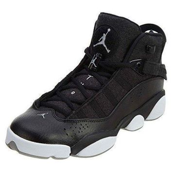 Jordan 6 Rings Boys' Grade School Basketball Shoes 323419 014 jordans black and white
