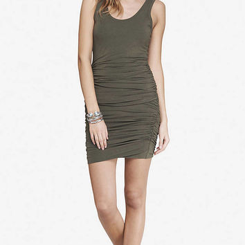 GREEN RUCHED TANK DRESS from EXPRESS
