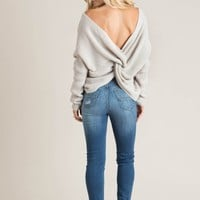 Carly Light Grey Twisty Sweater